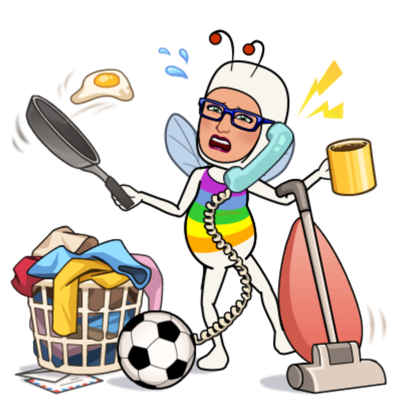 MC Fairy on the telephone with a frying pan in her right hand tossing an egg into the air. In her left hand, she's holding a coffee mug while balancing a vacuum on the inner part of her elbow.