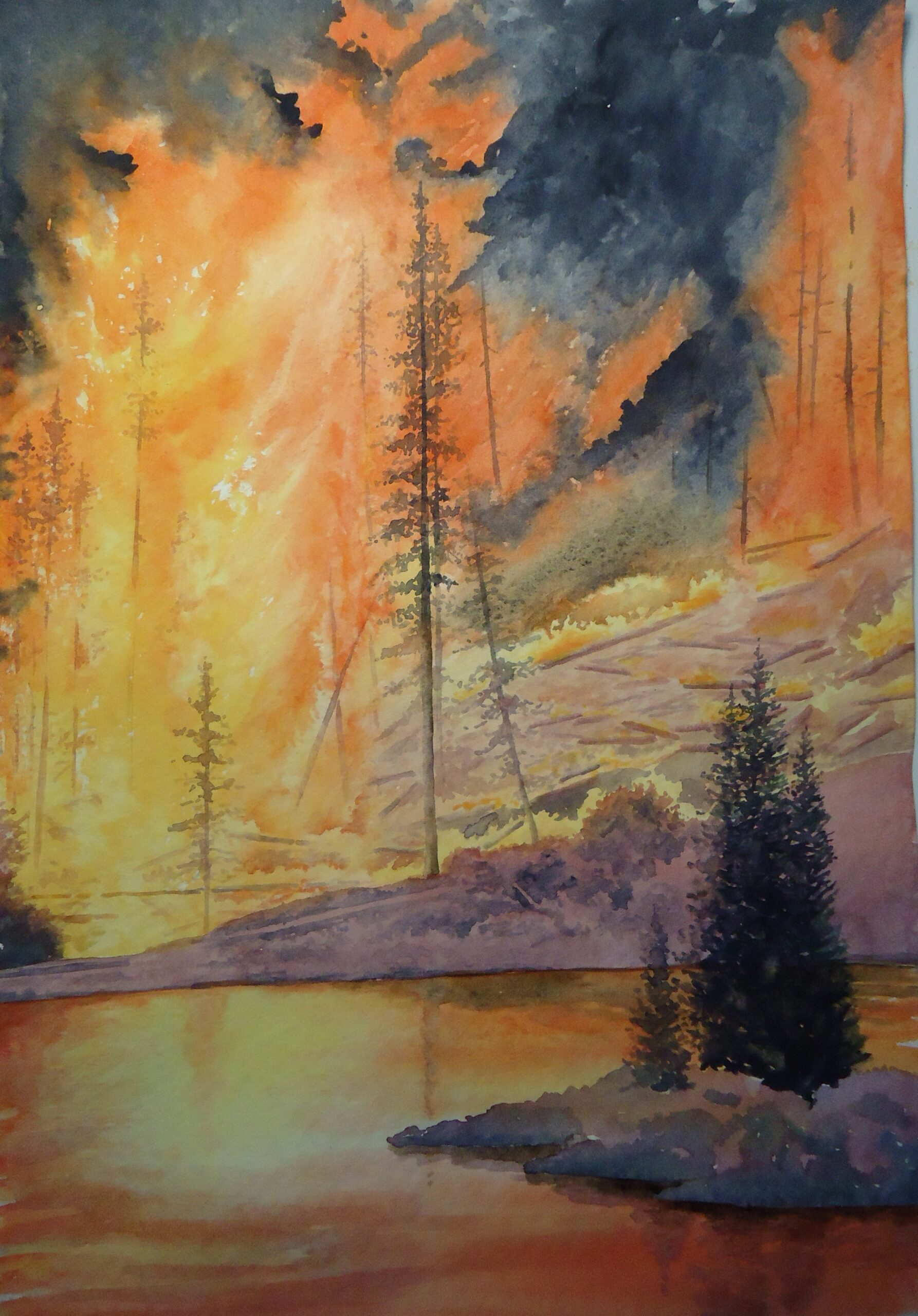 A watercolour painting of some trees surrounding a lake, with fire ravaging through the trees in the distance by Keith Cains.
